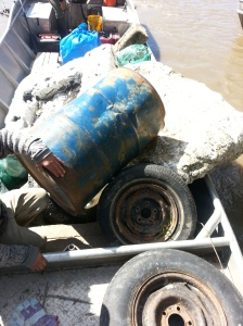 A boatload of trash retrieved Saturday from the Missouri River near Jefferson City by volunteers from Missouri River Relief. (Photo by Jessica Stone)